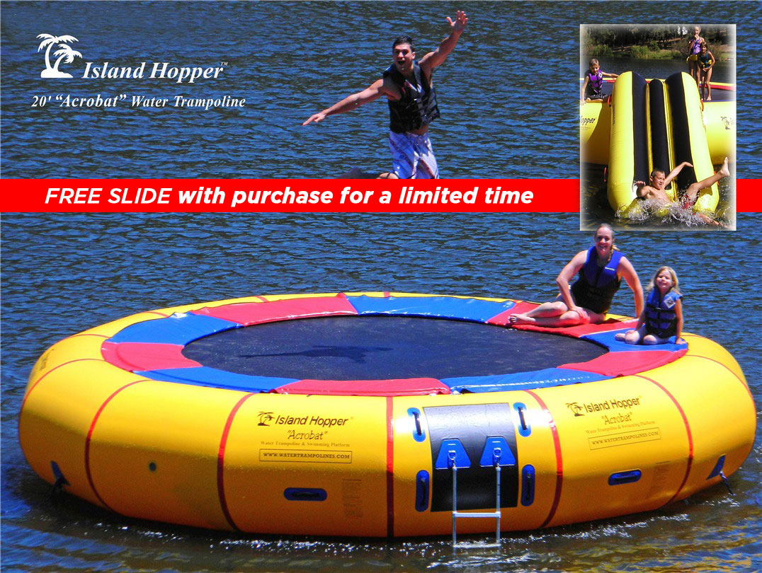 20 Foot Island Hopper Acrobat Water Trampoline With Free Slide limited time only