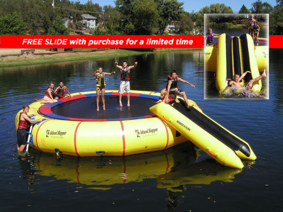25 Foot Island Hopper Giant Jump Water Trampoline with Free Slide limited time only
