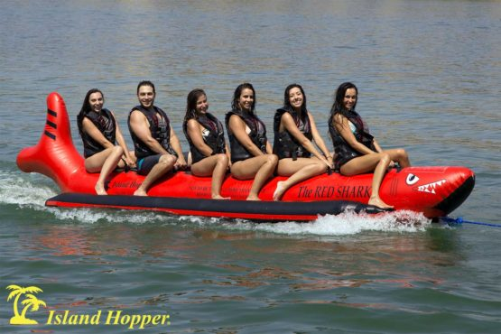 Island Hopper red shark banana boat
