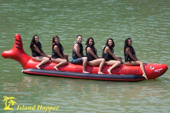 Island Hopper red shark banana boat