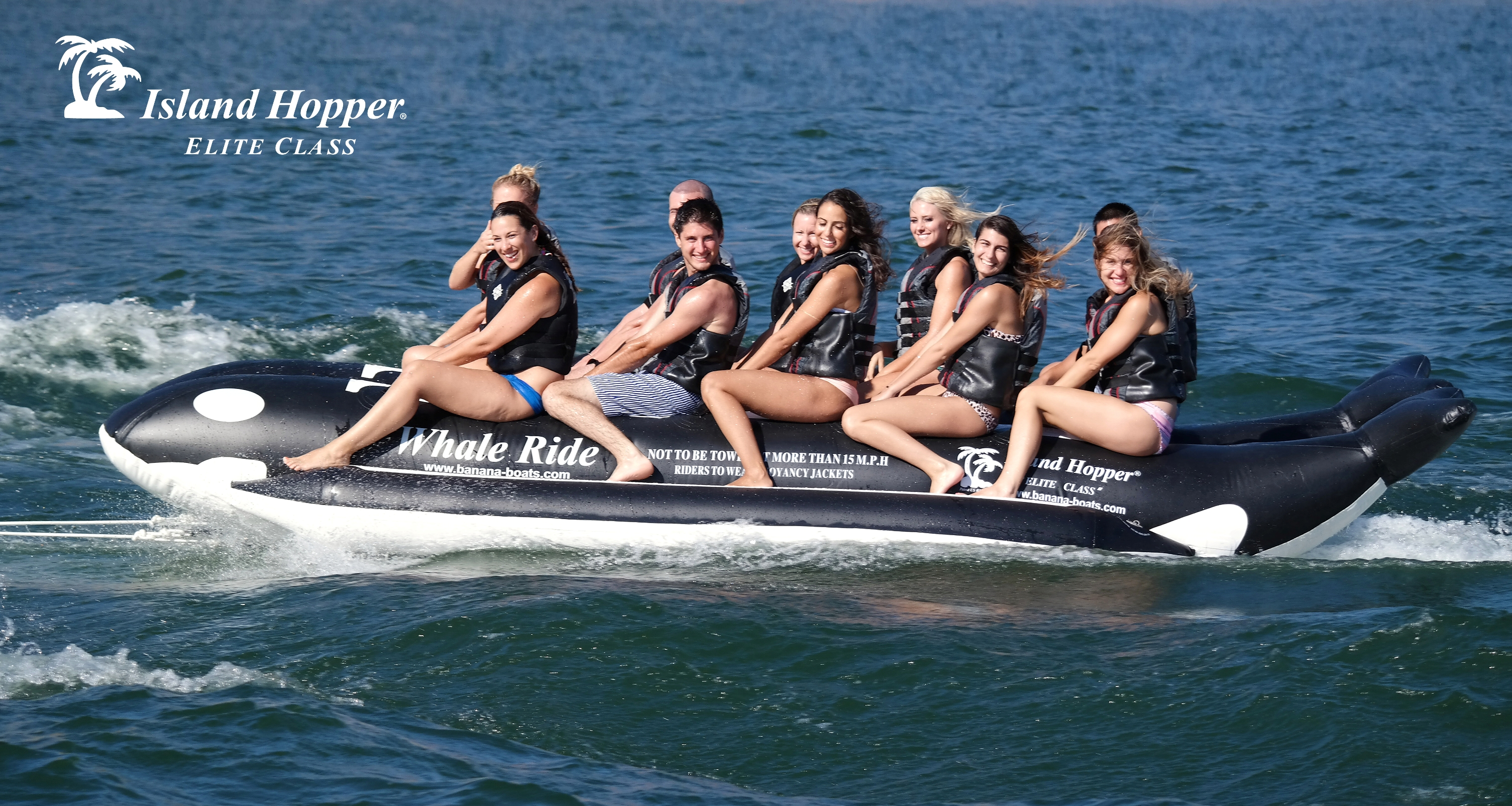 Whale Ride 10 Passenger Elite Class Banana Boat Heavy Commercial Inflatable Towing Harness Island Hopper Person Rider