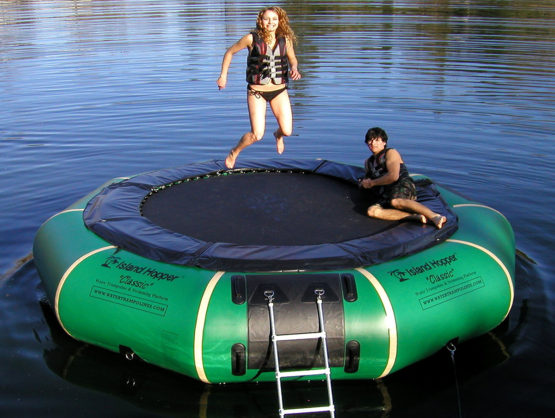 15 foot Island Hopper Classic Water trampoline in natural green color